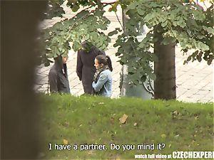 trampy Czech female deep-throating strangers pipe in public