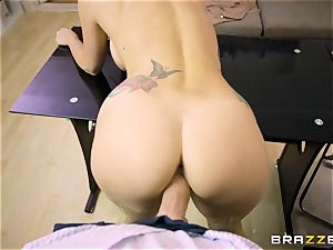 Mature tatted secretary Monique Alexander with giant udders entices her boss and gargles his penis