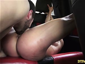 James Deen takes cougar Cherie Deville for a rail on his spunk-pump in the car