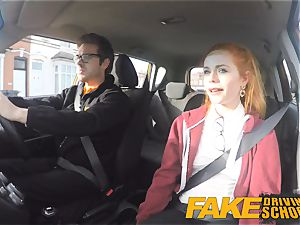 fake Driving college nice sandy-haired Ella Hughes ravages