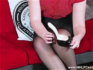 hot stunner peels off dark-hued lingerie strokes in nylon garter