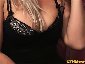 CFNM wifey exhilarated while husband gets cocksucked