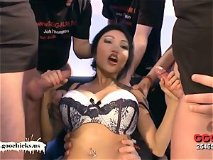 super huge-titted asian stunner Manga crams her slots with peckers