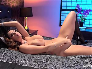 Alison Tyler posing bare in couch