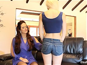 Elsa receives a lesson from her big-titted teacher Holly