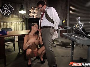 dark-haired Peta Jensen bashed in the lab