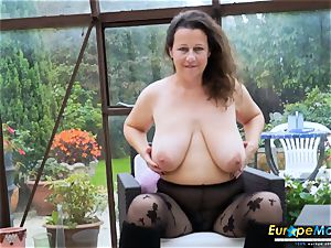 EuropeMaturE red-hot huge-boobed Solo woman playing Alone