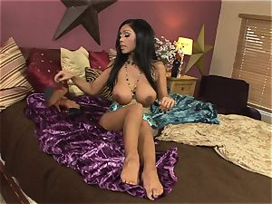 Dark haired indian tease Priya Rai groping her juggs and smoothly-shaven beaver