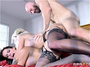 Peta Jensen and Kissa Sins sharing a gigantic fuck-stick