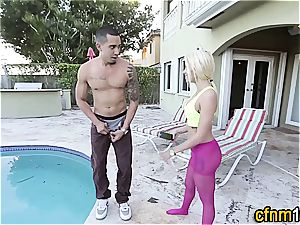hotty outside with her clothes on blowing ginormous man-meat