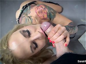 pov oral job with eyes covered cougar Sarah Jessie