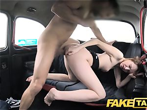 faux cab slender ginger-haired loves rough fucky-fucky