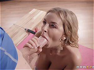 kinky yoga featuring a platinum-blonde bombshell with massive fun bags