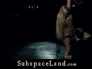 sub woman light-haired pleasured and disciplined in subjugation