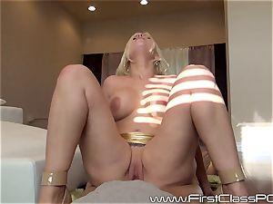 Britney Amber inhaling on large fuck-stick pov style