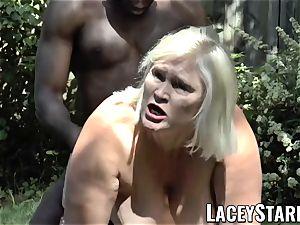 LACEYSTARR - grandmother praying for youthfull black man sausage