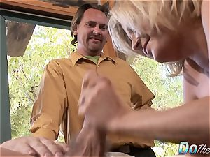 Housewife Lya pink uses her throat and labia on wood
