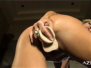 platinum-blonde milf deepthroats dildo and packs herself up