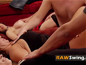 Mature duo looks forward to full swapping in the crimson room
