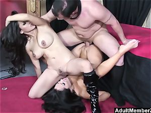lucky fellow threesome with asian dommes
