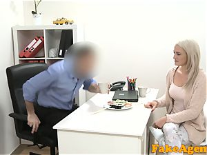faux Agent scorching blonde model loves beef whistle over the desk