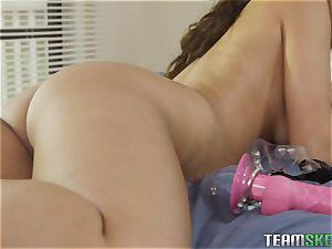 Selena Santana and Sophia Leone slurping vagina