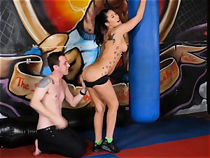 asian hottie London Keyes porks her dude after a workout