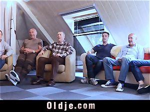 6 oldman pulverizing in gang a stunning warm blondie