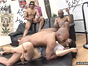 three ebony folks ruin the chinese tramps snatch