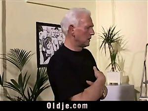 antique aged Teenie nymph banged grey hair grandfathers