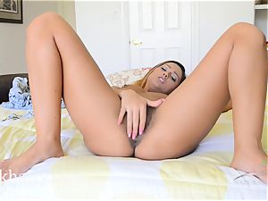 fur covered Latina Jaye Summers getting humid on the sofa