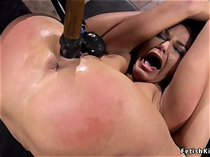 hogtied in back bend brunette caned