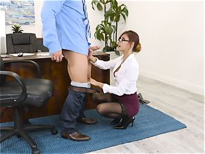 chief Jade Jantzen deepthroats and pulverizes a large dicked employee