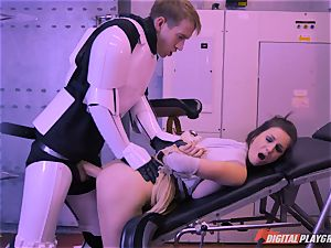 Stella Cox slit bashed by a space agent
