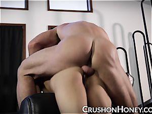 CrushGirls - smallish stunner Gold blindfolded and humped