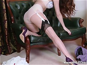 babe unwraps to nylons heels to plaything her fuckbox