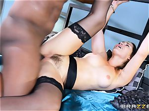 Dani Daniels takes this ample ebony man rod with relief