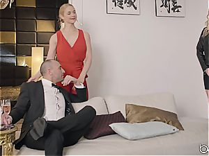 Sarah Vandella and her spouse involve Giselle Palmer in their orgy activity