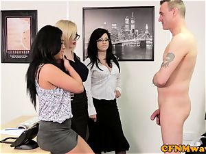euro CFNM female dom inhaling fuck-stick in office