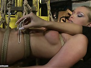 Kathia Nobili and Mandy Bright body strapping with strap